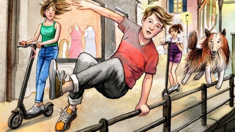 Ausschnitt aus Titel-Illustration des neuen Buches: Die Kaminski-Kids Debora, Simon und Raffi mit ihrem Collie Zwockel. (Bild: PD)