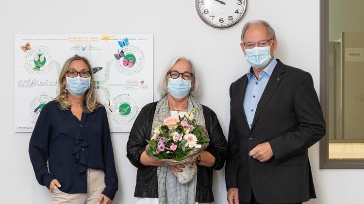 Der Vorstand der Spitex Obwalden: Irène Röttger, Geschäftsführerin, Edith Schuler, neues Vorstandsmitglied, und Hans Wallimann, Präsident (v.l.n.r.). (Bild: PD)