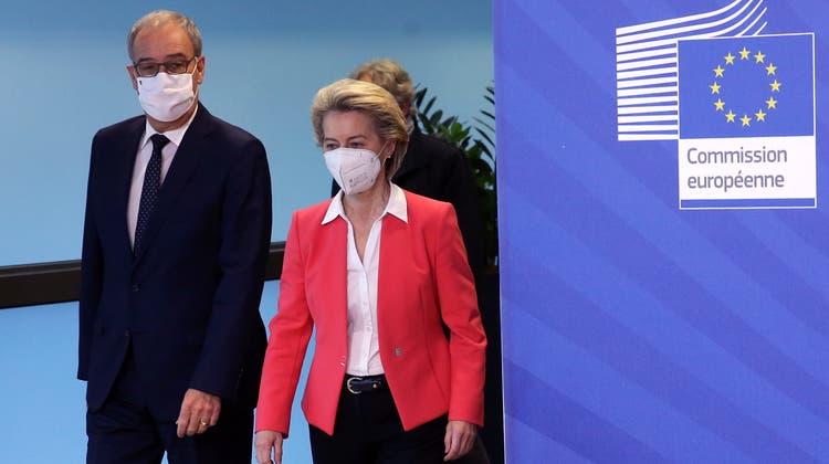 Geheimsache Rahmenabkommen: Guy Parmelin und Ursula von der Leyen am 23. April lin Brüssel. (Francois Walschaerts / Pool / EPA)