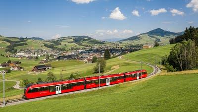Ein Stadler-Triebzug «Walzer» der Appenzeller Bahnen zwischen Appenzell und Gontenbad. (Bild: PD)