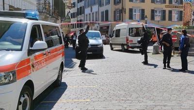 Zugang in die Stadt am Samstag eingeschränkt: Die Polizei hat den Zugang von der Kreuzackerbrücke in die Altstadt teilweise gesperrt. (Zvg)