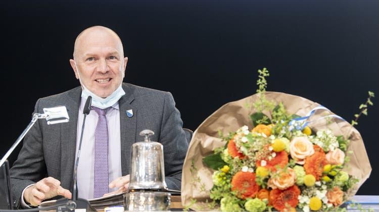 Benno Scherrer nach seiner Wahl zum Zürcher Kantonsratspräsidenten. (Bild: Keystone)