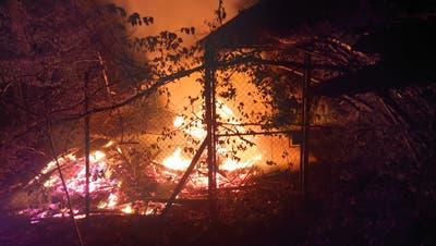 In St.Margrethen brannte am Sonntag eine Jagdhütte. (Bild: PD)