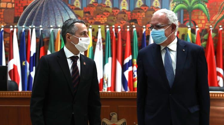 Im November letzten Jahres hatte Bundesrat Ignazio Cassis seinen palästinensischen AmtskollegenRiyad al-Malki getroffen. (Keystone)
