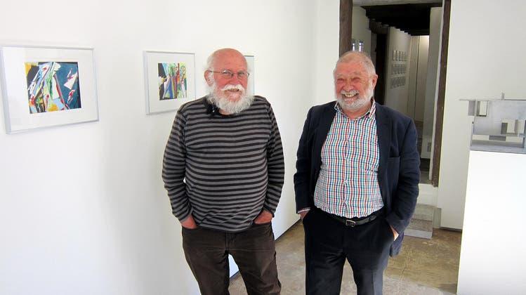 Franz Anatol Wyss und Roman Lüscher in der Galerie Rössli Balsthal (Eva Buhrfeind / Solothurner Zeitung)