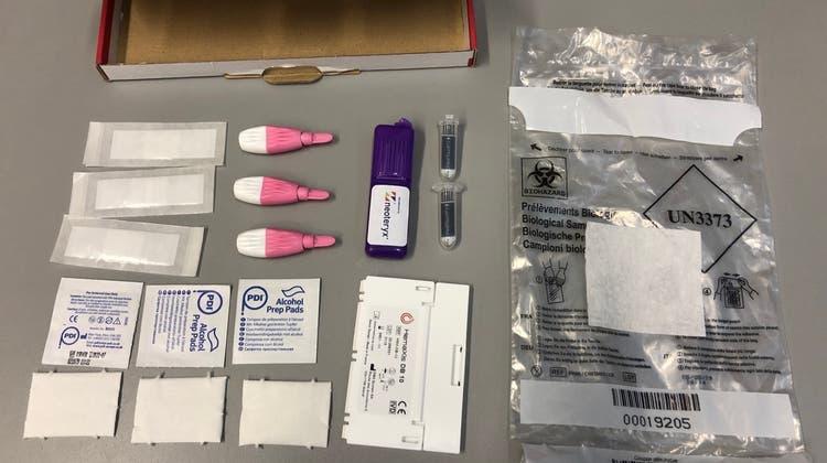 So könnte ein Blutentnahme-Kit aussehen, welches für den Antikörpertest benötigt wird. (HO)