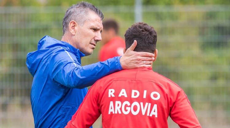 Stürmertrainer Petar Aleksandrovin Diensten des FC Aarau. (Bild: Fabio Baranzini (Aarau, 30. August 2018))
