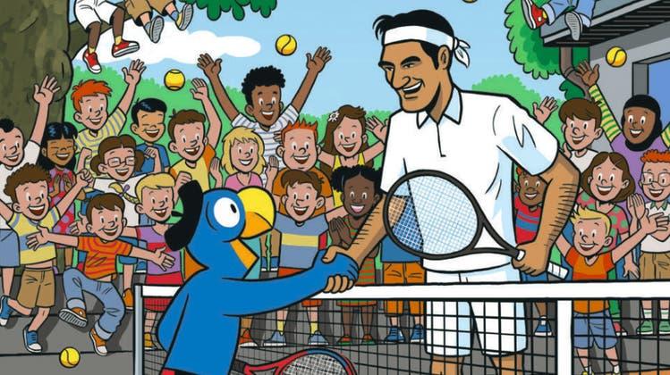 Zwei Nationalhelden vereint: Die Zeichentrickfigur Globi und Tennis-Maestro Roger Federer. (Schweizerisches Nationalmuseum /)