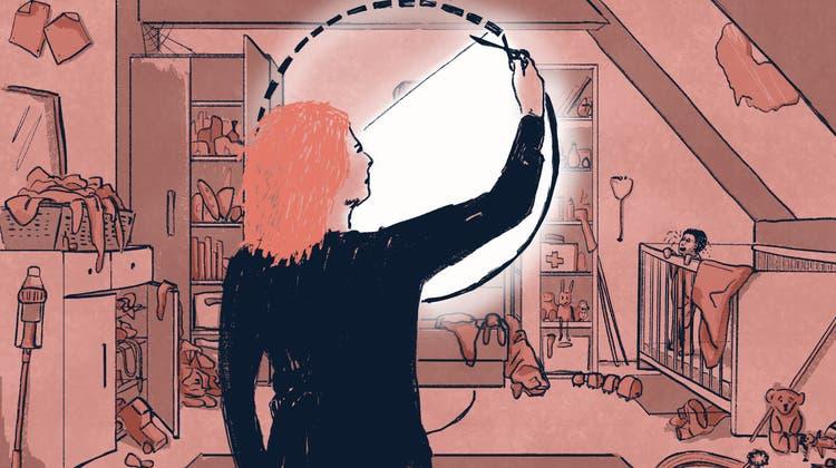 Inmitten von Haushaltschaos und Kindergeschrei wünschte sich Lena manchmal eine Fluchttür, zu einer friedlichen Sphäre. (Illustration: Sandra Näf)