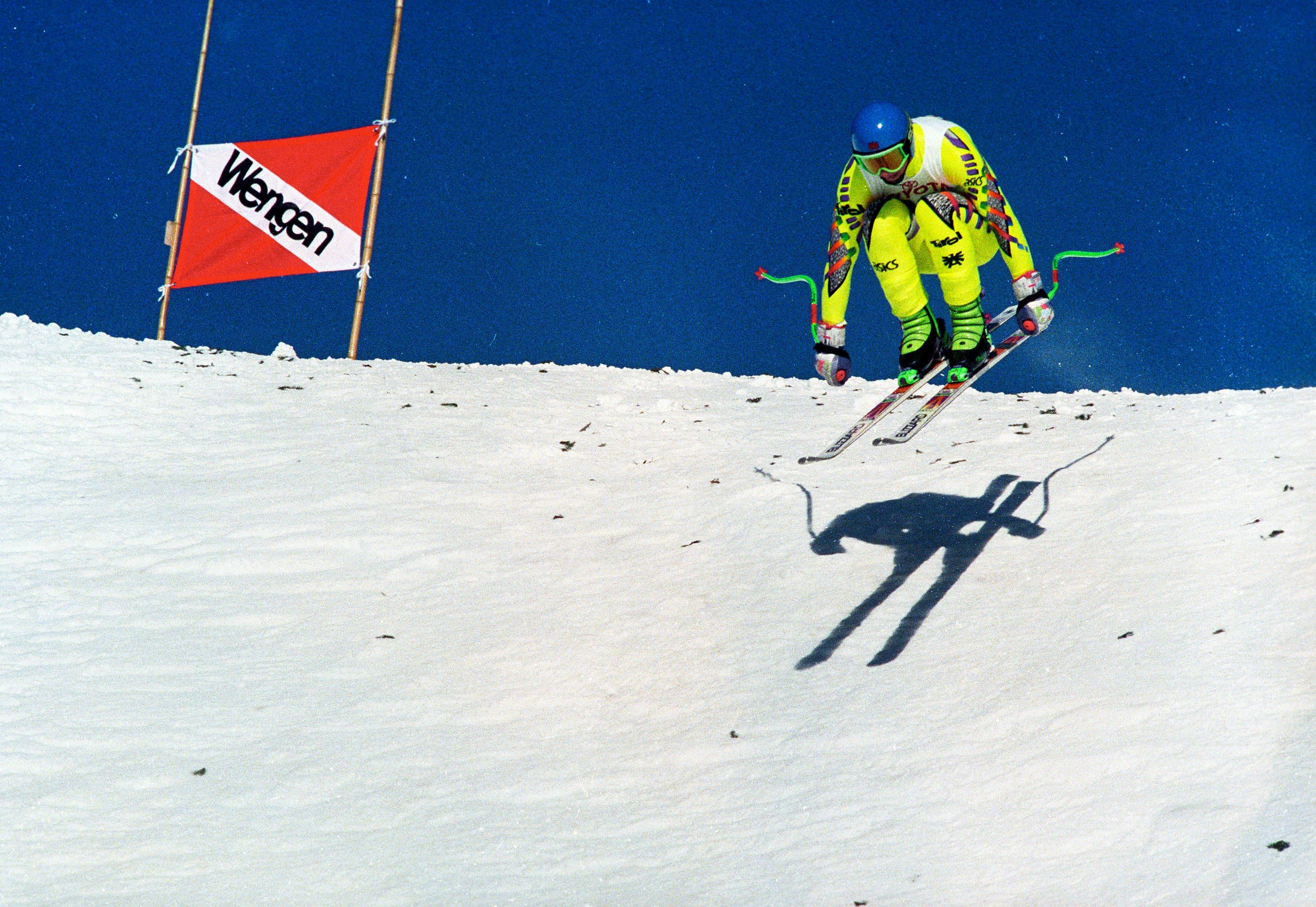 Wengen, 19.1.1991: Beim Ski Alpin-Rennen am Lauberhorn, verunglückt der Österreicher Gernot Reinstadler (21) beim Zielsprung tödlich.
