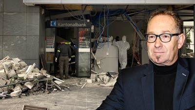 Eine Bank in Trümmern: «Plastik-Sprengstoff in Grösse einer Zigarettenschachtel genügt, um derartige Schäden anzurichten», sagt Sicherheitsexperte Peter Villiger. (Bildquellen: Pirmin Kramer/zVg, Montage: sam)