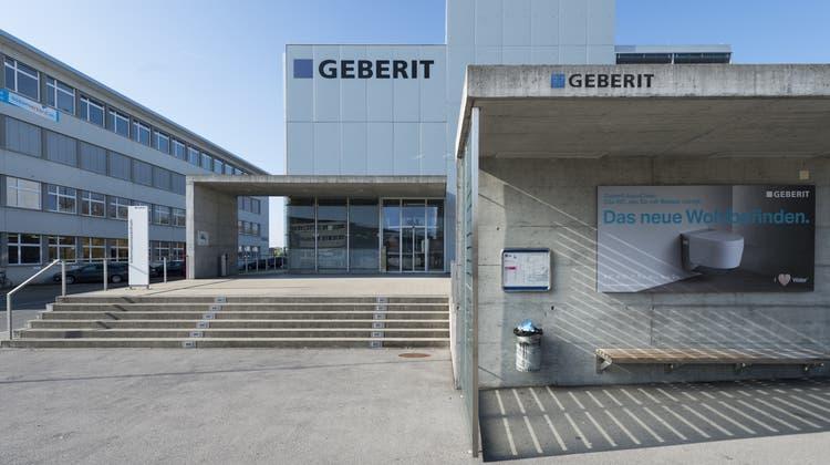 Der Geberit-Hauptsitz in Jona. (Bild: Gian Ehrenzeller/Keystone)