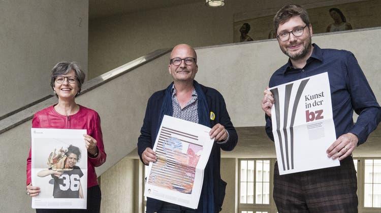 Vernissage von «Kunst in der BZ» im Kunstmuseum Basel. Vlnr: Ines Goldbach, Anita Haldemann, Mathias Balzer und Sven Gallinelli. (18.06.2020) (Roland Schmid)