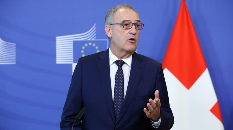 Scheitert das Rahmenabkommen? Bundespräsident Guy Parmelin und EU-Ratspräsidentin Ursula von der Leyen nahmen nochmals einen Anlauf. (EPA (Brüssel, 23. April 2021))