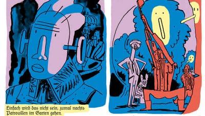 Dieser Comicromankann schrille Politsatire: Der letzte deutsche Kaiser Wilhelm II beim besessenen Baumfällen im Exil. Illustration aus der Graphic Novel «Der Kaiser im Exil» von Jan Bachmann. (Edition Moderne)