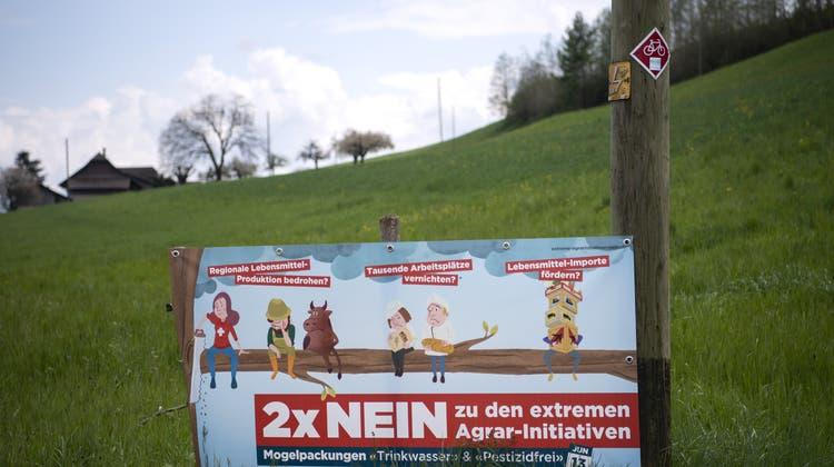 Trotz präsenter Nein-Kampagne: Zu Beginn der Hauptkampagnenhätte eine Mehrheit den Agrar-Initiativen zugestimmt. (Keystone)