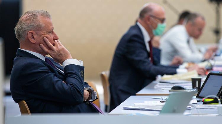 Finanzdirektor Heinz Tännler während der Kantonsratssitzung in der Waldmannhalle in Baar. (Bild: Stefan Kaiser (Baar 6. Mai 2021))