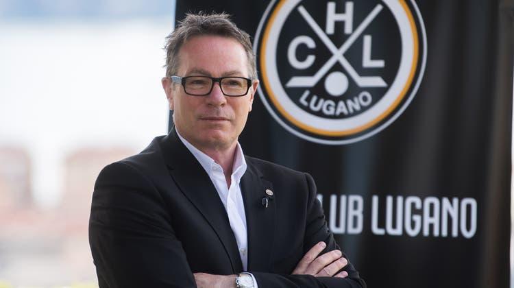 Der Eishockeytrainer Chris McSorley bei der Vorstellung als neuer Trainer des HC Lugano. (Samuel Golay / KEYSTONE/Ti-Press)