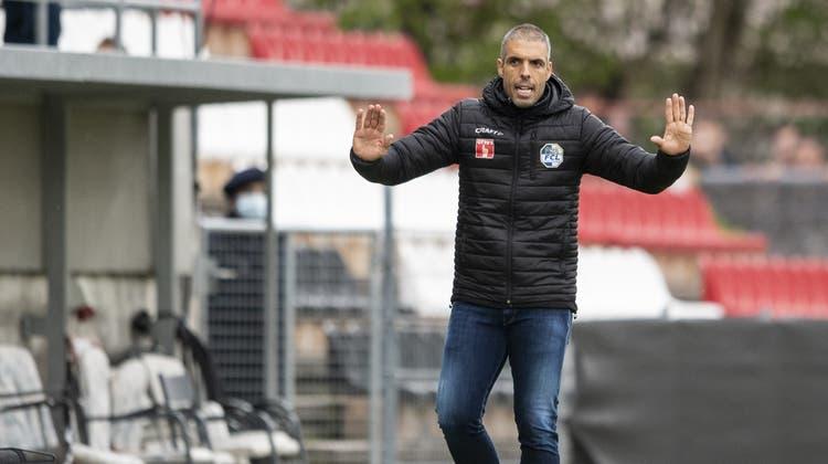 Fabio Celestini sagt mit Blick auf den Cupfinal: «Wir denken nicht daran, was in zwei Wochen passiert.» (Ennio Leanza/Keystone (Aarau, 4. Mai 2021))