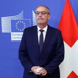 Kamen sich nicht näher: Bundespräsident Parmelin vor gut zwei Wochen zu Besuch bei EU-KommissionspräsidentinVon der Leyenin Brüssel. (Keystone)