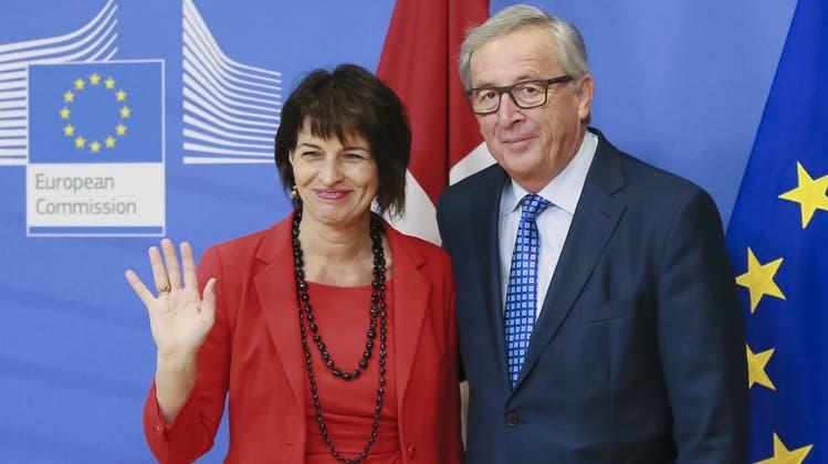 Chefsache: Bundespräsidentin Doris Leuthard besucht EU-Kommissionspräsident Jean-Claude Juncker im April 2016. (Keystone)