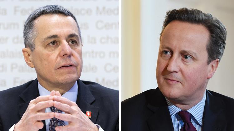 Bissen in Brüssel bei der gleichen Frage auf Granit: Bundesrat Ignazio Cassis (l.) und der vormalige britische Premierminister David Cameron. (Keystone)