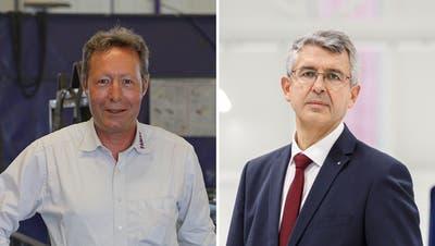 Zwei Vertreter der Industrie mit unterschiedlichen Meinungen: Metallbauer Paul Mayer ist gegen, Ingenieur Josef Maushart ist für das CO2-Gesetz. (Lucien Fluri /Hanspeter Bärtschi)