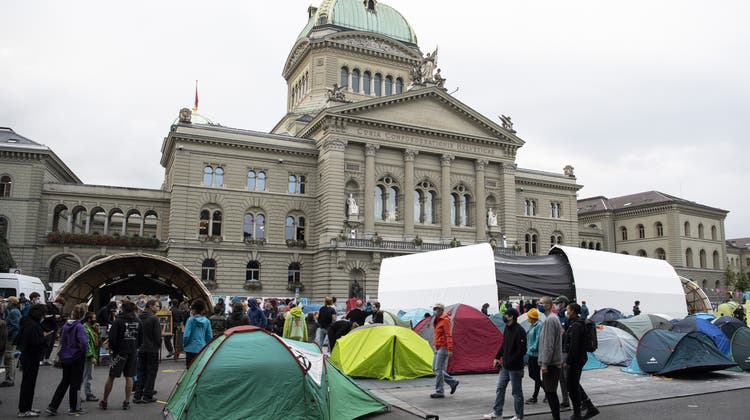 Drei Tage lang besetzten die Klimaaktivisten den Bundesplatz. (Keystone)