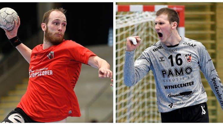 Tim Aufdenblatten und Leo Grazioli sind dank ihrer Leistungen auf der grossen Schweizer Handball-Bühne angekommen. (Foto: Alexander Wagner/AZ-Collage)