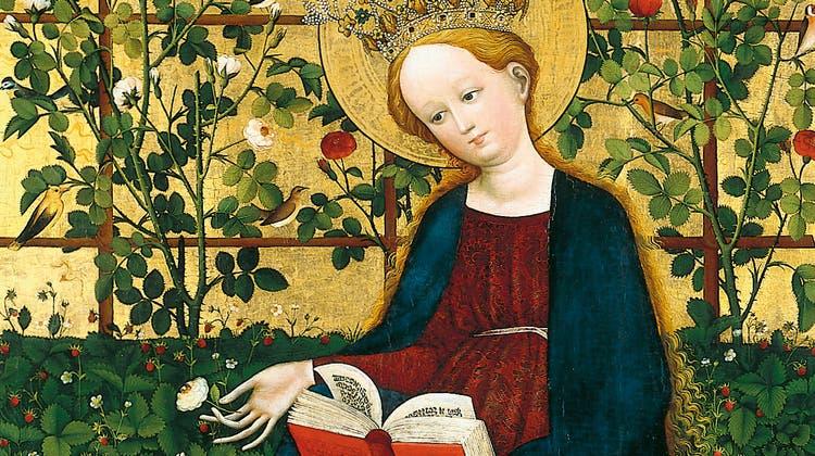 Ein mittelalterliches Jöö-Bild für Gartenfreundinnen:  «Madonna in den Erdbeeren». 144 Zentimeter hoch, um 1425 von einem oberrheinischen Meister auf Fichtenholz gemalt. Die Strahlkraft der Farben hat bis heute gehalten. (Kunstmuseum Solothurn)