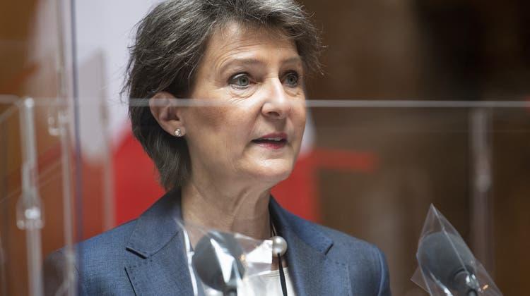 Ist besorgt über die sich verschlechternde Situation der Medienschaffenden in Europa: Bundesrätin Simonetta Sommaruga. (Keystone)