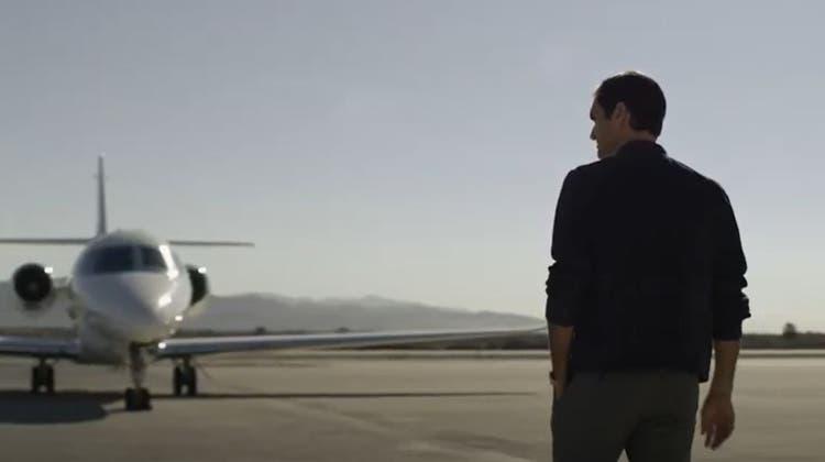 Werbeclip: Roger Federer ist Botschafter der Privatjet-Firma Netjets. (Youtube, Screenshot)