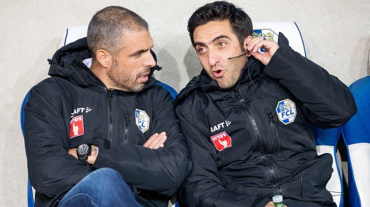 FCL-Trainer Fabio Celestini (links) mit seinem Assistenten Genesio Colatrella. (Bild: Philipp Schmidli (Luzern, 1. Februar 2020))