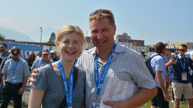 Esther Friedli und Toni Brunner im August 2019 am Eidgenössischen Schwing- und Älplerfest in Zug. (Bild: Beat Lanzendorfer)