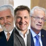 Sie gehören zum Referendumskomitee (von links): KommunikationsberaterPhilipp Gut (Geschäftsleiter), Verleger Bruno Hug, alt Nationalrat Peter Weigelt (FDP/Präsident), alt Nationalrat Toni Brunner (SVP), Ständerat Thomas Minder (parteilos). (CH Media (Key/ZVG))