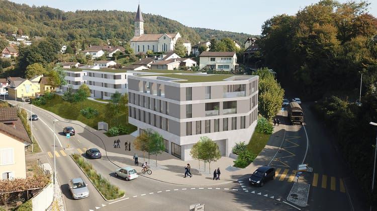 Wohl noch vor der geplanten Überbauung wird die Busbucht an der Landstrasse realisiert. Aktuell ist der Busstopp rechts des Gebäudes. (zvg)
