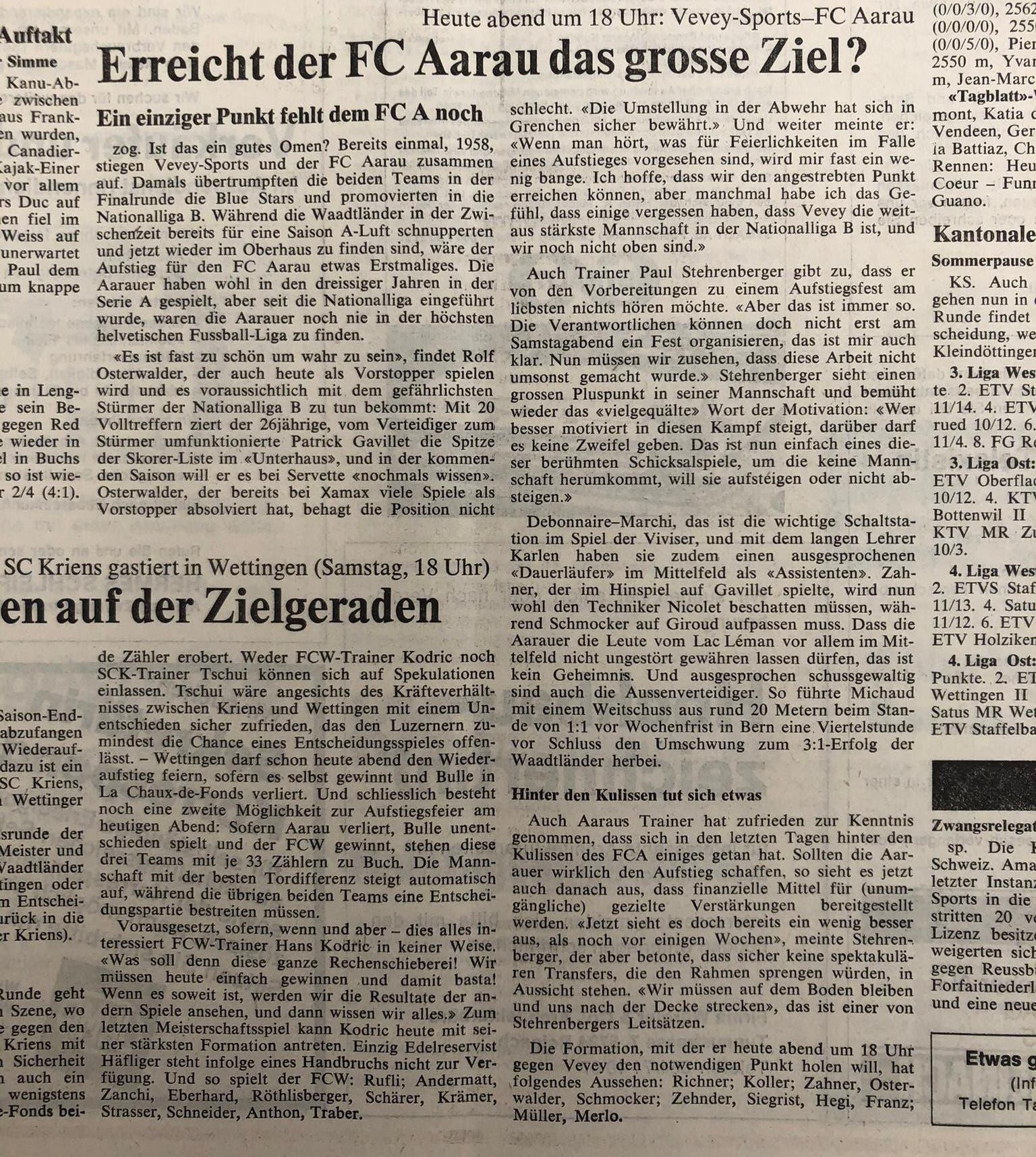 """Die Matchvorschau im """"AT"""" am 13. Juni 1981"""