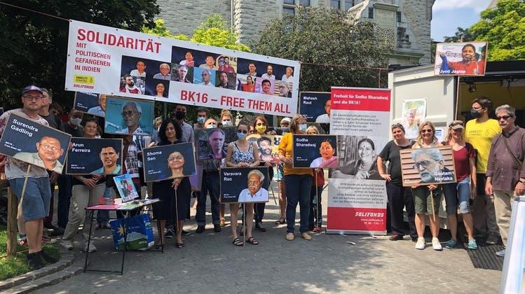 Amnesty International setzte am Samstag in Zürich ein Zeichen für gefangene Menschenrechtsaktivistinnen in Indien. (HO)