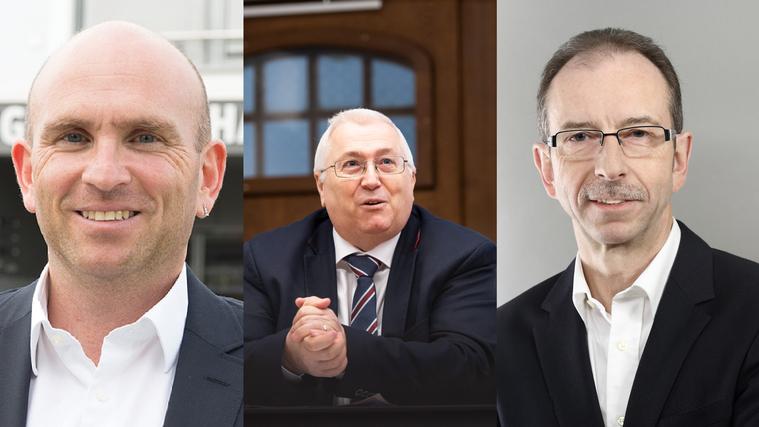 Die drei neuen Gäuer Gemeindepräsidenten: André Grolimund (Härkingen, freie Liste), Jonas Motschi (Oberbuchsiten, #myBuchste), Hanspeter Egli (Neuendorf, FDP). (zvg)