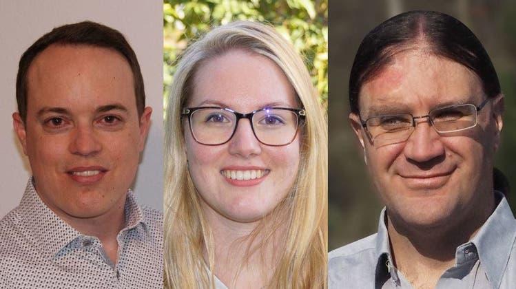 Keiner der drei erreichte das absolute Mehr:Patrick Vogel (FDP), Anja Fenner-Zimmermann und Dominik Mahrer (beide parteilos). (zvg)