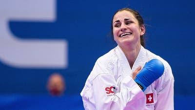 Elena Quirici im Moment, als es feststeht: Sie hat sich erneut für die Olympischen Spiele qualifiziert. (Federico Pestellini / www.imago-images.de)
