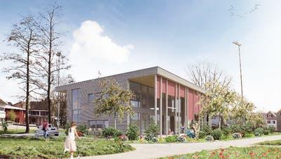 Eine Visualisierung des geplanten Kindertreffneubaus auf dem Schulgelände in Scherzingen. (Bild: PD)