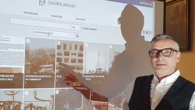Roger Kohler präsentiert auf der Jahresversammlung der Museumsgesellschaft Arbon das neue Saurer-Archiv. (Bild: PD)