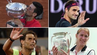 Novak Djokovic misst sich an den Marken von Roger Federer und Rafael Nadal und nimmt nun auch noch Steffi Graf ins Visier. (Keystone/Montage CH Media)