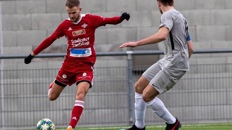 Christopher Teichmann (links) schoss kurz vor Schluss das 2:1 für den FC Baden. (Archiv/Dänu Mercier / ZVG/)