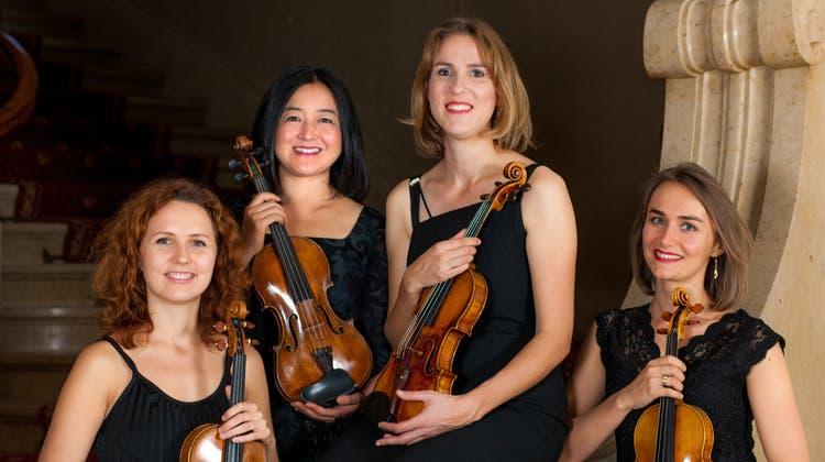 Frauenpower mit vier Geigen: Das St. Galler Gioia Quartett aliasIryna Gintova, Yuko Ishikawa, Barbara Hürlimann und Olga Stepien. (Bild: PD)