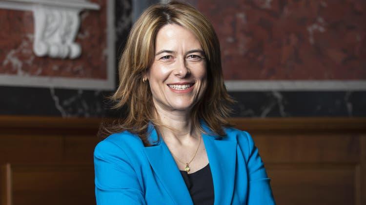 FDP-PräsidentinPetra Gössi an einem Medientermin, nachdem sie via Twitter ihren Rücktritt bekannt gegeben hat. (Keystone (Bern, 14. Juni 2021))