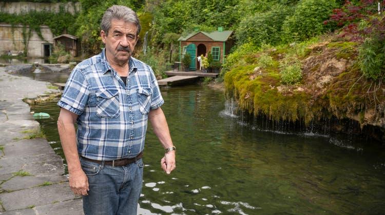 Die Fischzucht von Roman Hufschmid unter der A1, die über die Reuss bei Birmenstorf führt, wurde bei der Sanierung der Brücke 2015 vergiftet. Nach der Sanierung der Becken und des Quellhanges leben wieder Fische in den Teichen. (Alex Spichale)