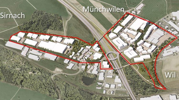 Wunschvorstellung in 30, 40 Jahren: Bebaute und belebte Flächen des interkantonalen Gewerbegebiets Wil West in Sirnach und Münchwilen. (Bild: PD)