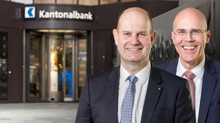 AKB-Direktionspräsident Dieter Widmer und Bankratspräsident Dieter Egloff. (Chris Iseli/Sandra Ardizzone)